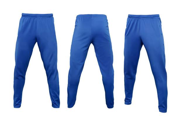 blaue leggings hose isolierten auf weißen hintergrund - sweatpants stock-fotos und bilder