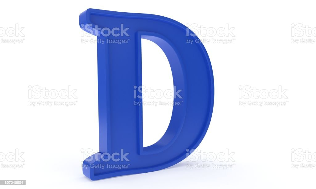 Blue letter D, 3d rendering stock photo