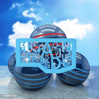 176074170 istock photo Blue letters creativ concept - 3d rendered illustration 1190629253