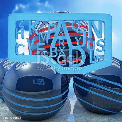 176074170 istock photo Blue letters creativ concept - 3d rendered illustration 1191863340