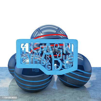 176074170 istock photo Blue letters creativ concept - 3d rendered illustration 1194669693