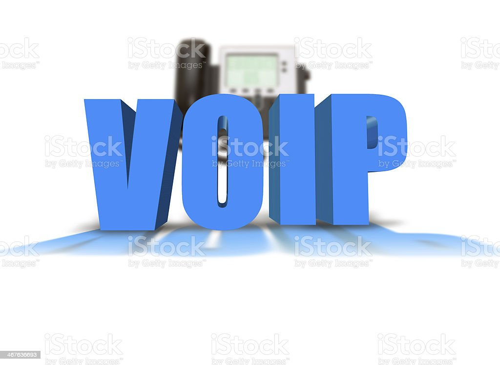 3D blue letters saying VOIP with a phone in the background stock photo