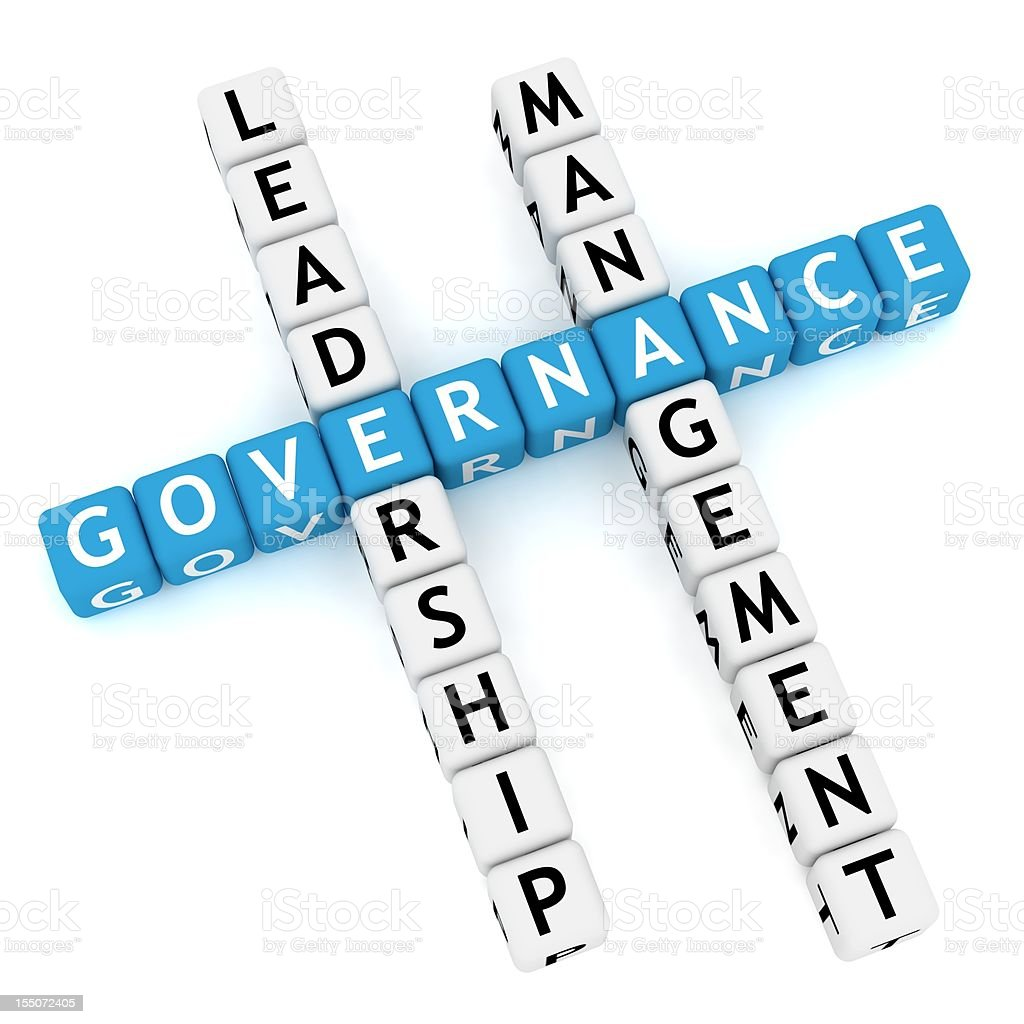 Blue letters spell governance in crossword royalty-free stock photo