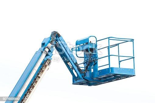 istock blue lift bucket on white background 927669940
