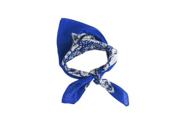 hellblau, blaues halstuch-halstuch mit einem muster, isoliert - hippie stirnbänder stock-fotos und bilder