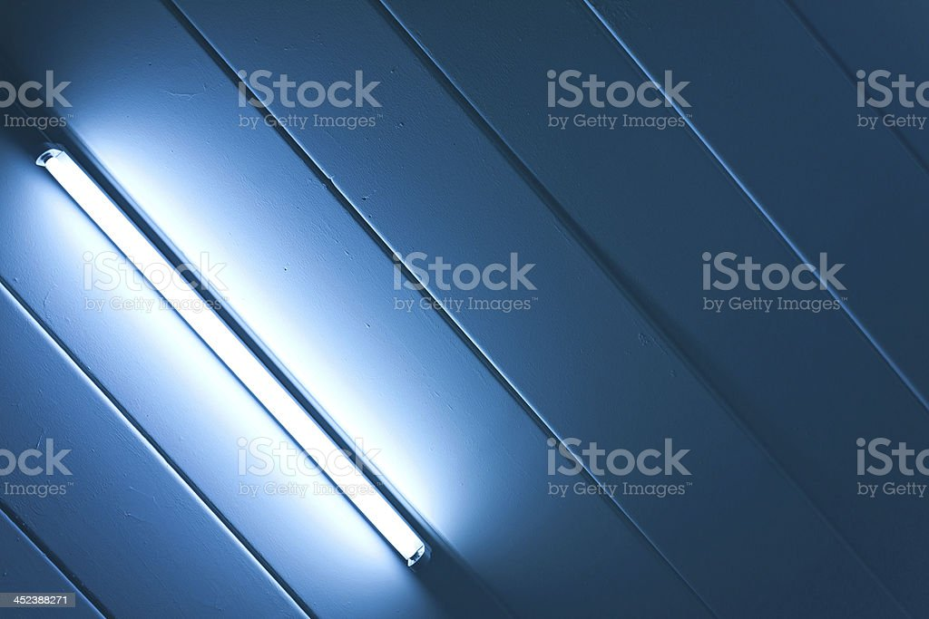 Blue light fluorescent of lamp stock photo