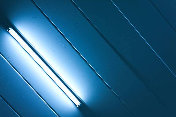 blue light fluorescent of lamp - fluorescent light stock pictures, royalty-free photos & images
