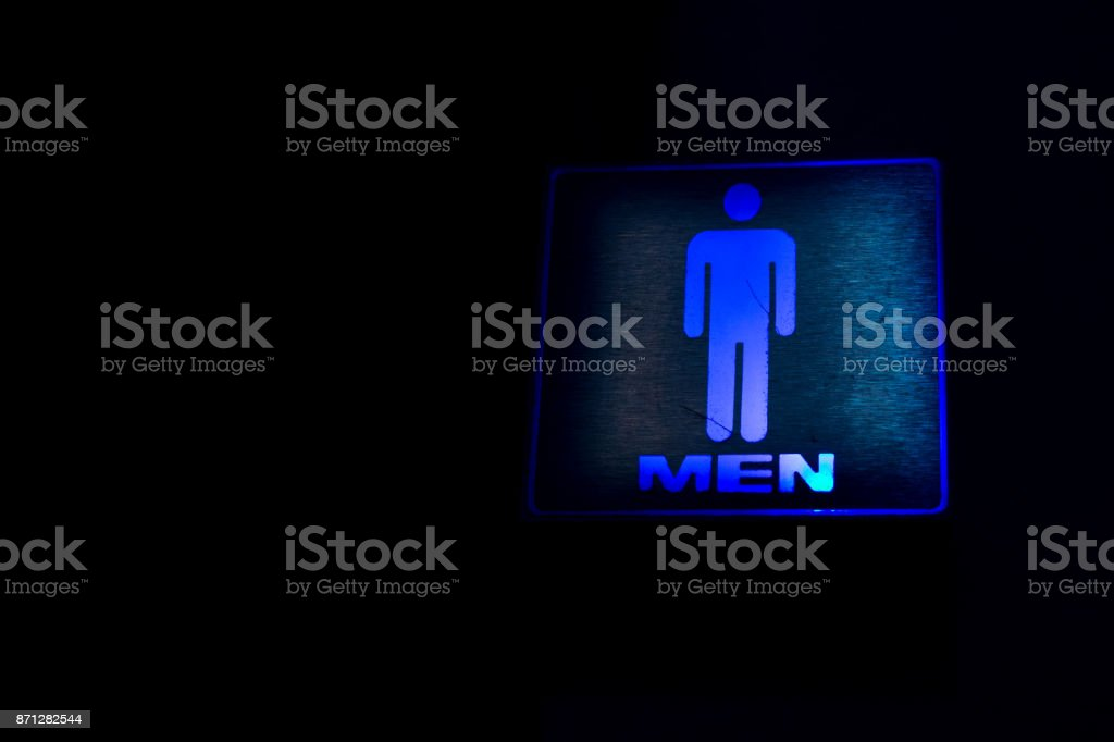 blue light  men's Labels  in night stock photo