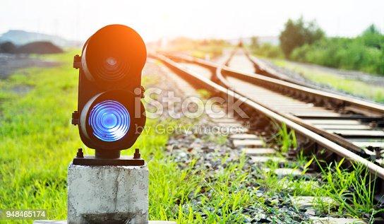 Blue light on railway track