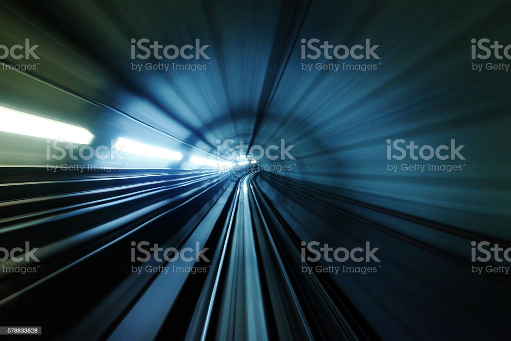 Blue light trail stock photo