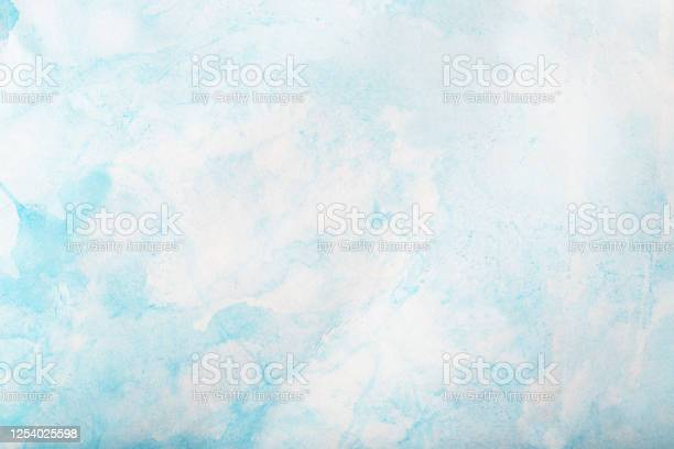 Photo of Blue light watercolor background, texture paper