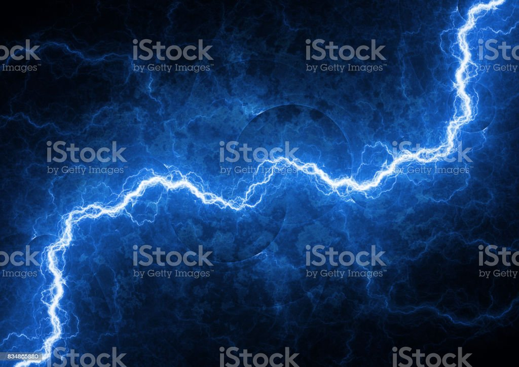 Blue lightning, abstract electrical background stock photo