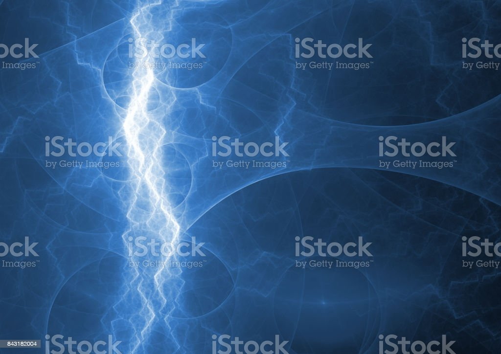 Blue lightning, abstract electrical plasma background stock photo