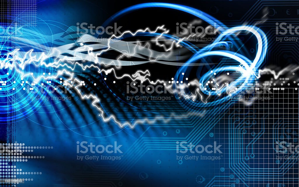 Blue lightning and circuit royalty-free stock photo