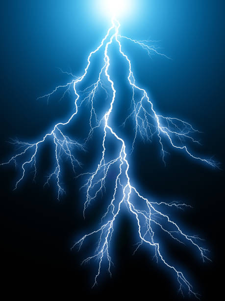Blue lightning arc electric discharge stock photo