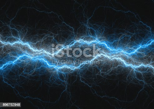 istock Blue lightning bolt, abstract plasma and power background 896752948