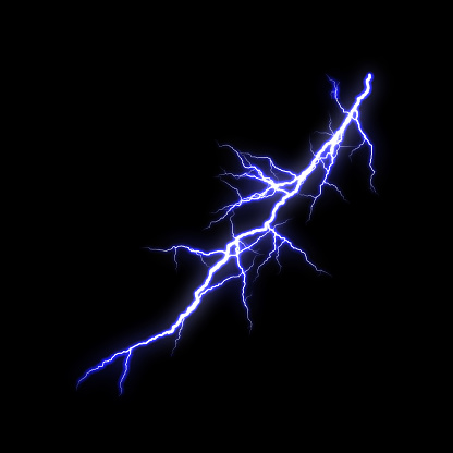 Blue Lightning flash Thunderbolt isolated on black background.