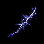 istock Blue Lightning flash Thunderbolt isolated on black background. 1200425699