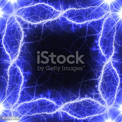 1149518720 istock photo Blue lightning frame with copy space 915350016