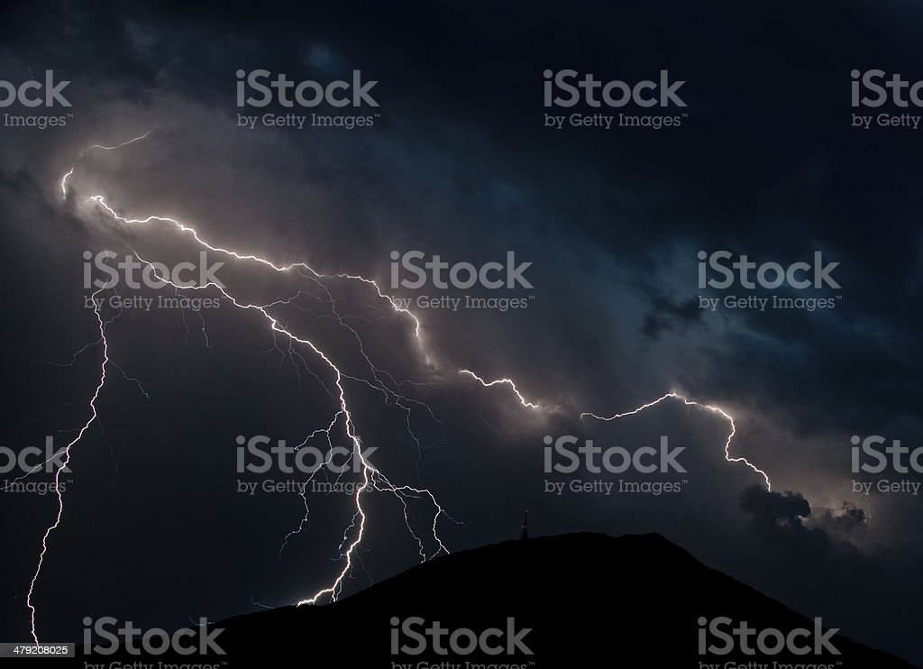 Blue lightning stock photo