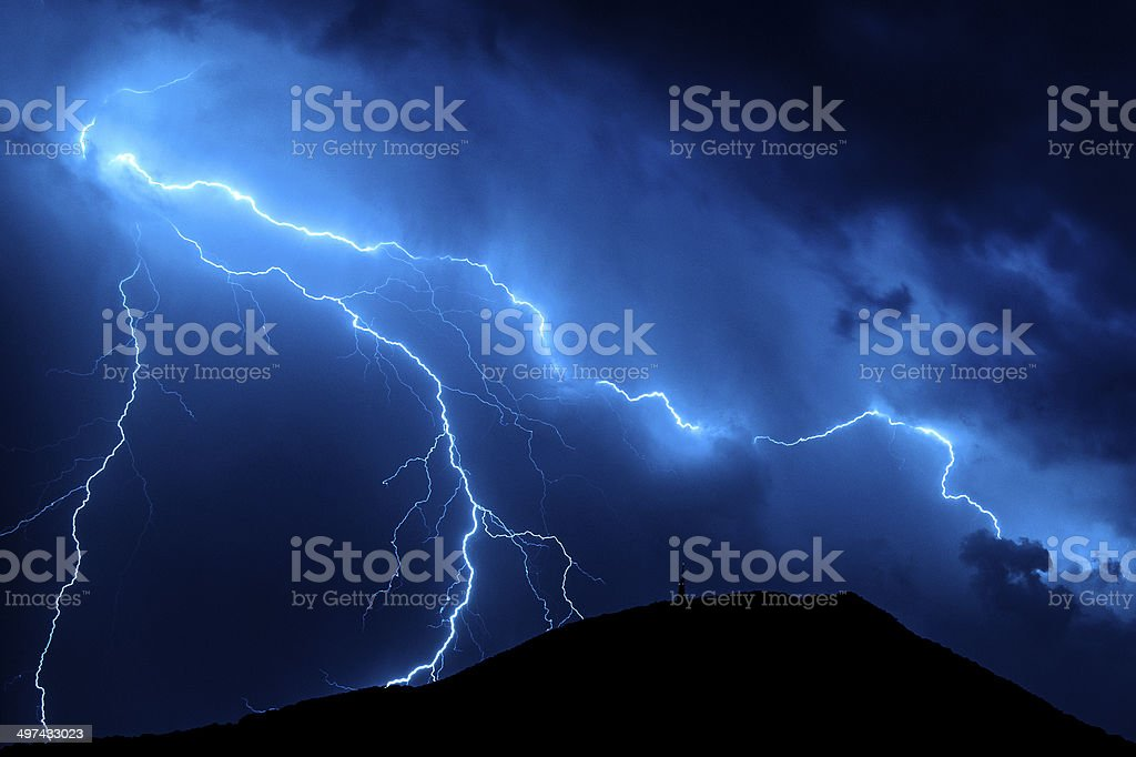 Blue lightning stock photo
