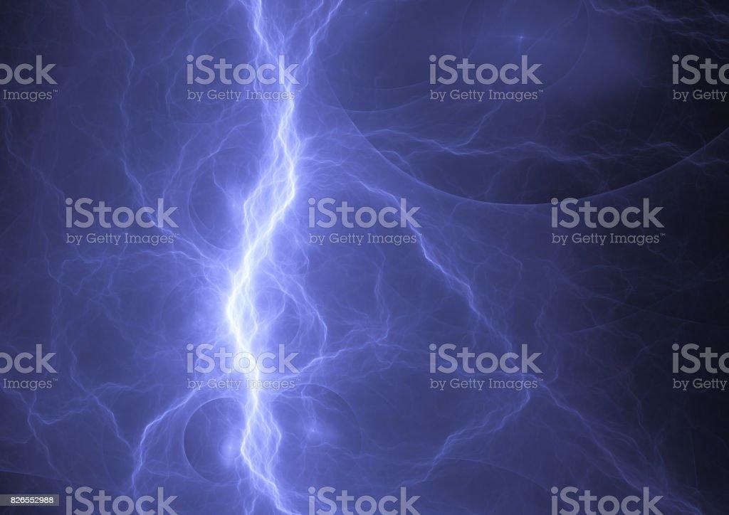 Blue lightning, plasma power background stock photo