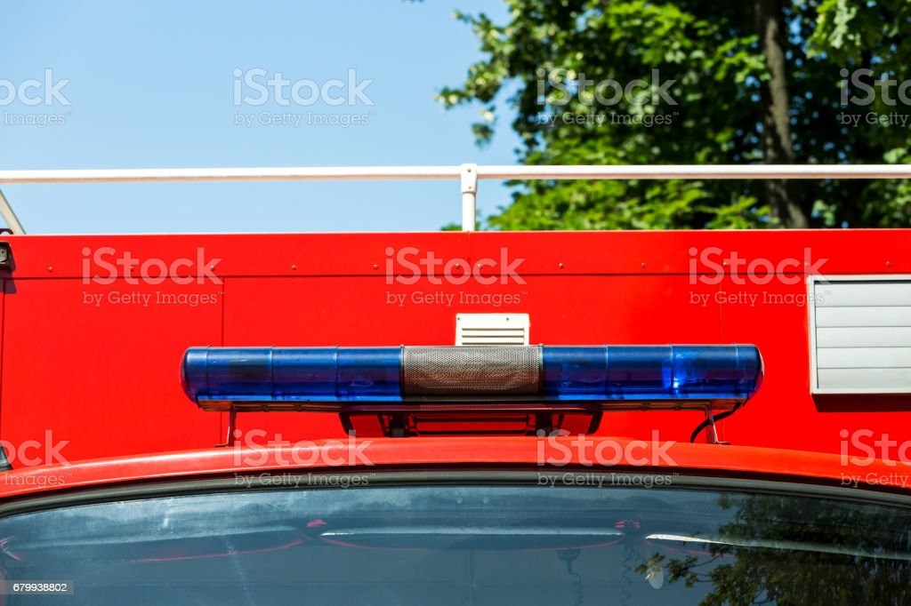 Blue Lights And Siren On A Fire Truck Stockfoto Und Mehr Bilder Von