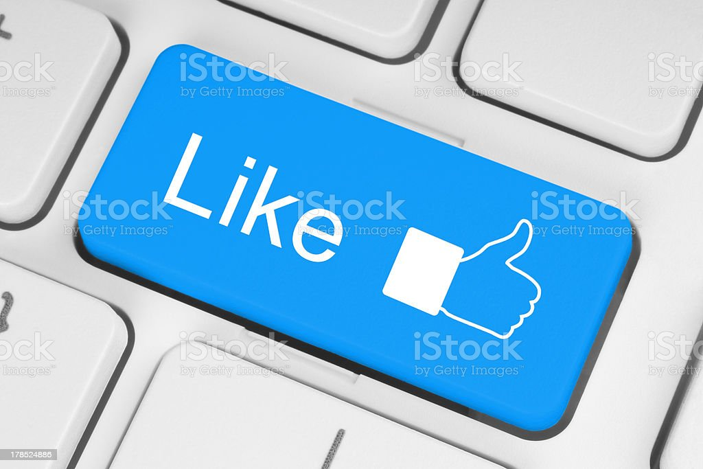Blue like button on keyboard royalty-free stock photo