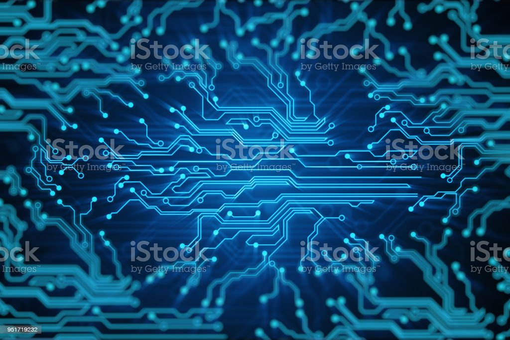 Blue lines drawn by bright spots eventually create an abstract image of a circuit board. It may represent electronic connections, communication, futuristic technology. 3d illustration stock photo
