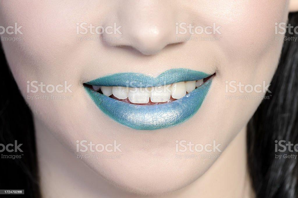 blue lips smile stock photo