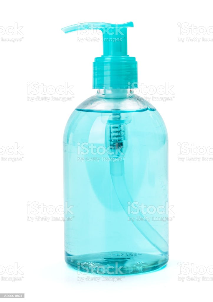 Blue liquid hand-wash soap in plastic bottle stock photo