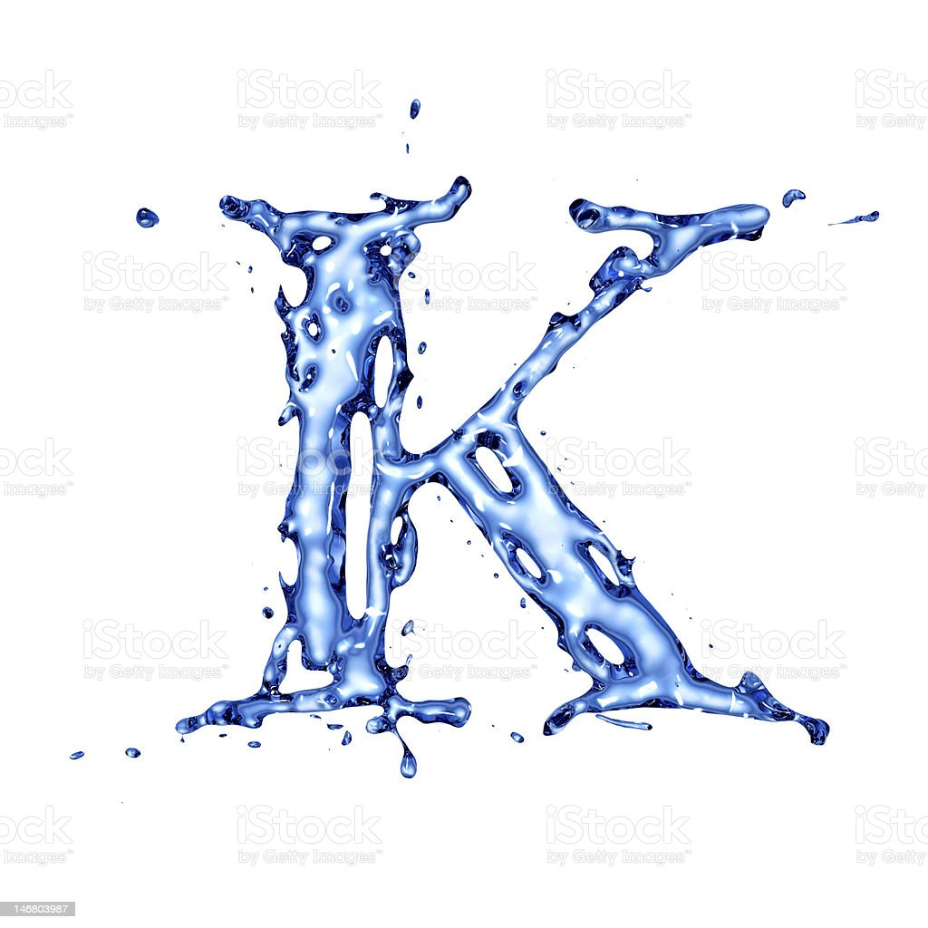Blue liquid water letter K stock photo