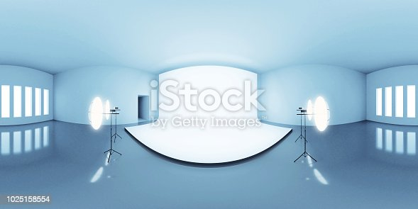 istock blue lit HDRI environment map, abstract spherical panorama background with photo studio setup (3d equirectangular render) 1025158554