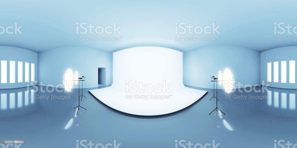 azul iluminado mapa entorno HDRI, fondo abstracto panorama esférico con configuración de foto estudio (equirectangular 3d render) - foto de stock