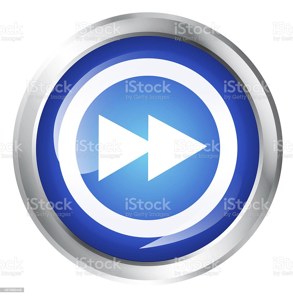 A blue lit up fast foward icon button stock photo