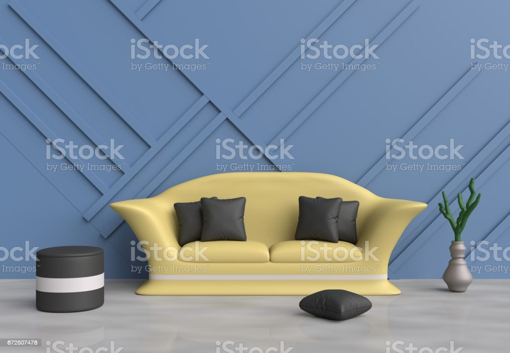 Blue Living Room Are Decorated With Yellow Sofa Black Pillows Grey Chair Wood Wall It Is Grid Pattern And The Cement Floor Reflection Of Natural Light 3d Render Stock