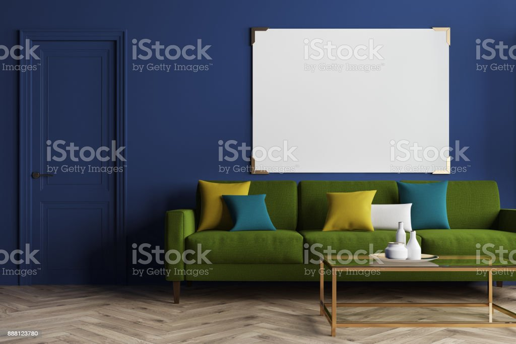 Blue living room, green sofa stock photo