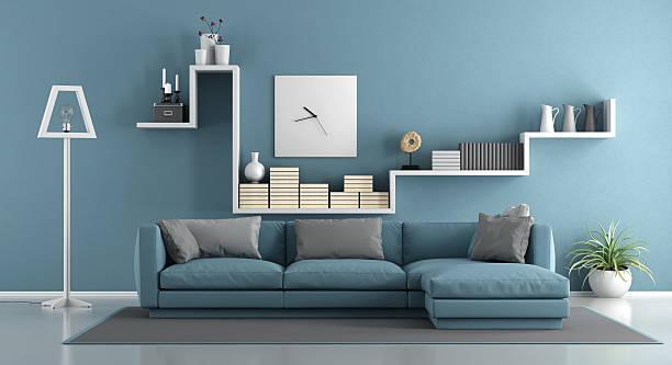 Blue living room stock photo