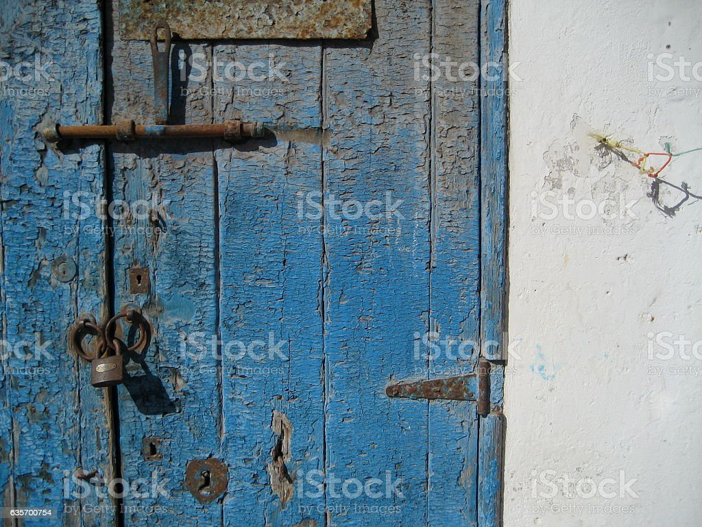 Blue locked door in Morocco royalty-free stock photo