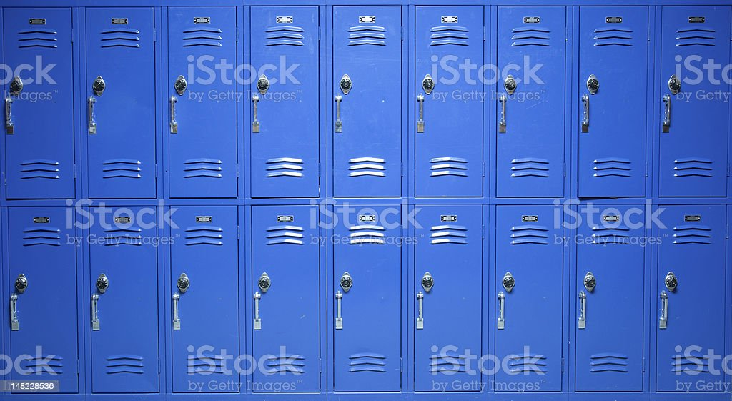 Blue Lockers stock photo