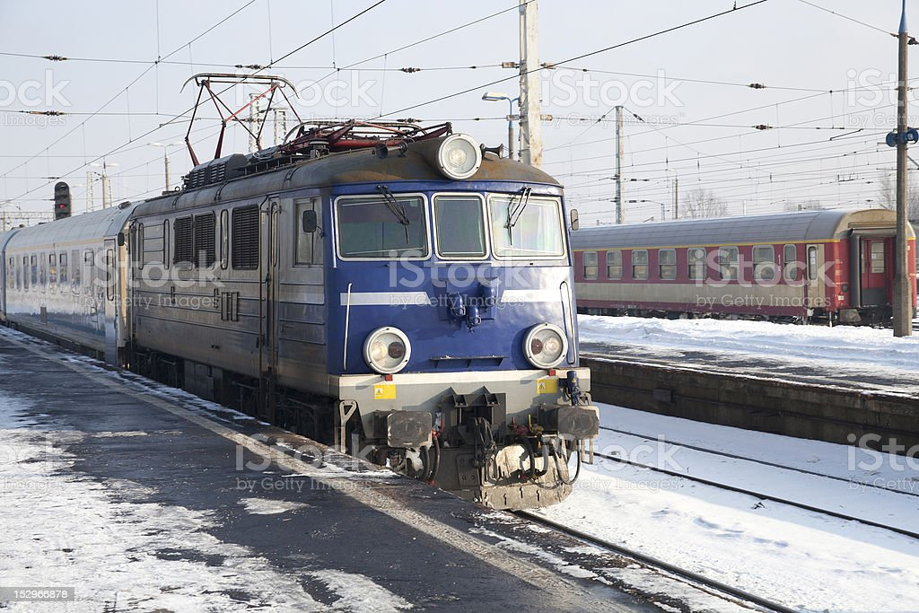 Blue locomotive stock photo