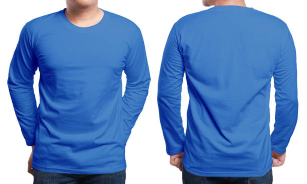 Blue Long Sleeved Shirt Design Template Blue long sleeved t-shirt mock up, front and back view, isolated. Male model wear plain blue shirt mockup. Long sleeve shirt design template. Blank tees for print long sleeved stock pictures, royalty-free photos & images