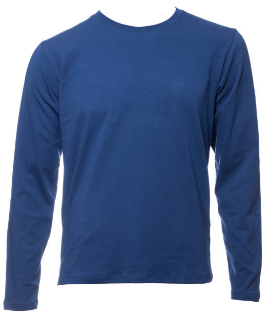 Blue longsleeve cotton tshirt on a mannequin isolated Blue plain long sleeved cotton T-Shirt on a mannequin isolated on a white background long sleeved stock pictures, royalty-free photos & images