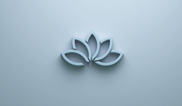 blauer lotus blume hintergrund. 3d render-illustration - buddhist tattoos stock-fotos und bilder