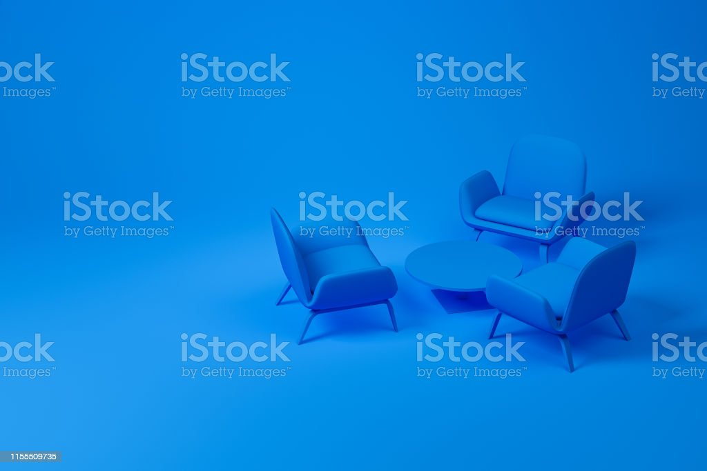 Set of lounge or living room furniture consisting of three blue...