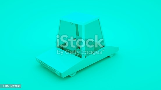 1087080996 istock photo Blue low poly cartoon car. 3D illustration 1187682838