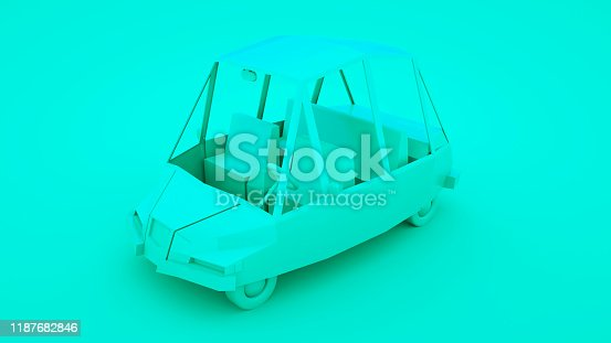1087080996 istock photo Blue low poly cartoon car. 3D illustration 1187682846