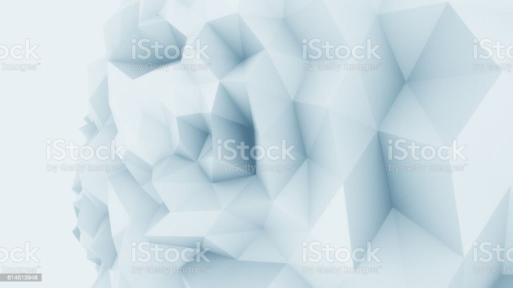 Blue low poly edgy sphere background for modern reports and stock photo