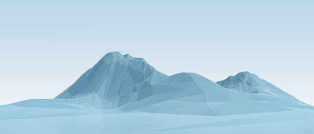 blue low poly mountains in wireframe stock photo
