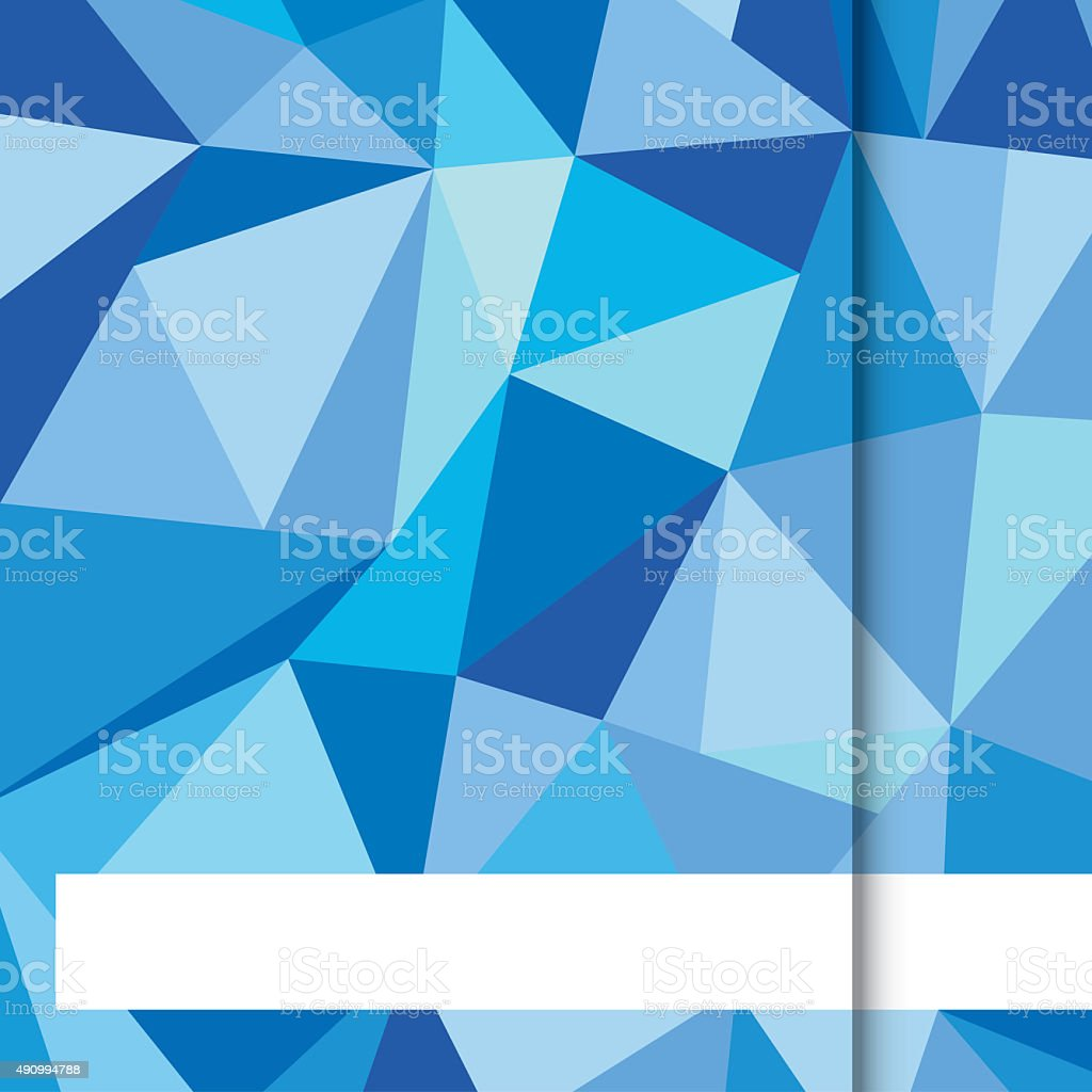 Blue Low poly with white strip Background stock photo